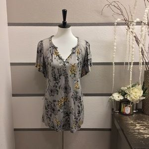 Deletta Grey Button-Up Floral Blouse